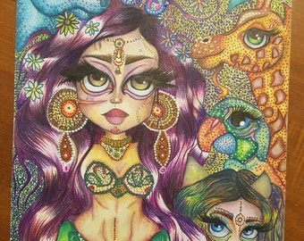 Alika 'the bellydancer'...Mixed Media:Coloured pencil and pen and ink...Prints available