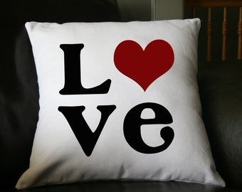 Love Pillow, Valentine Pillow, Decorative Pillow, Christmas Gift, Whimsical Pillow, Holiday Pillow, 16x16 Pillow