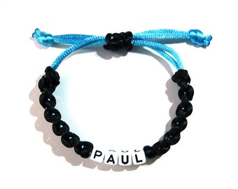 Name bracelet with macrame belt black light blue