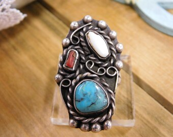 Ornate Vintage Turquoise, Coral, and Mother of Pearl Sterling Silver Ring - Size 8