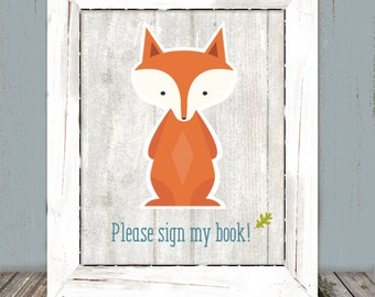 Woodland Animals Fox Whitewash Book Sign, 5x7 and 8x10