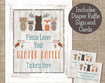 Woodland Animals Diaper Raffle Sign and Card