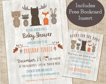 Whitewash Woodland Baby Shower Invitation and Bookcard inserts combo