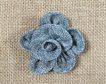 Gray Burlap Flowers, Dark Gray Burlap Flowers-3 inches, Burlap Flowers, Wedding Supply, Burlap Rose
