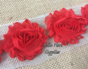 Red Shabby Chiffon Rose Trim- 2.5 inch- Red Shabby- Shabby Chiffon Flowers- Wholesale Shabby Flowers