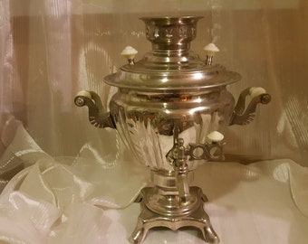 Large Russian vintage electric samovar for the whole family. 2 liter.