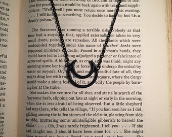 Black crescent moon necklace // occult necklace // black gothic necklace // black necklace // black moon necklace