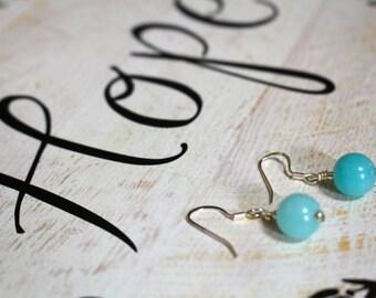 Baby Blue Glass Beads - Sterling Silver Earrings