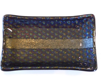 "Fused Glass 3.5"" x 5.75"" Dish - Black and Gold with blue tone iridescent radium glass."