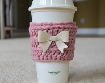 The Cute Cozy in Rustic Pink with Cream Bow