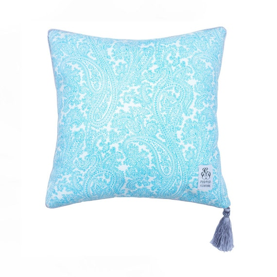 Decorative Pillows With Tassels : Aquamarine Decorative Pillow Decorative Pillow with Tassel