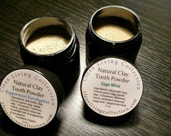 3 Clay Natural Tooth Powder, Remineralizing & Whitening! Cerified Organic and Vegan ingredients.