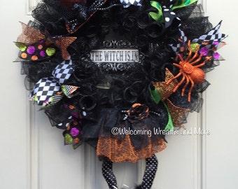 Halloween Wreath, Witch Legs Wreath, Witch Wreath, Haloween Mesh Wreath, Witch Mesh Wreath, Witch Legs Mesh Wreath, The Witch is In Wreath
