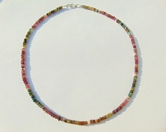 Tourmaline and Silver 925 Necklace .