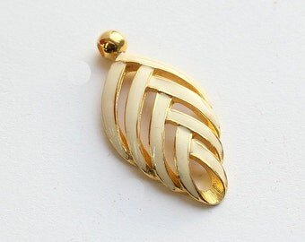 White And Gold Enamel Leaf Pendant. Vintage Charm.