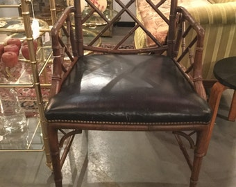 SOLD: Mid Century  Chippendale Style Side chair with Bamboo design