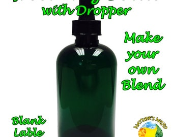 4oz Green Bottle with Dropper and Label