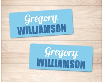 "Printable Name Labels BLUE for School Supplies - Personalized 2 5/8"" x 1"" Labels - Back to School - Editable PDF - Instant Download"