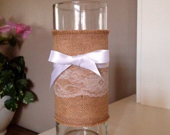 """Vase/Candle holder 9"""" with Burlap & Lace"""