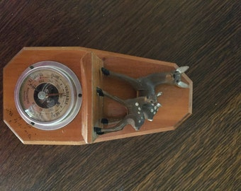 Vintage, Hand-Made Barometer Depicting a Deer and Fawn, Made in France