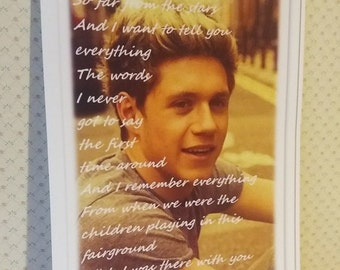 "Niall Horan, One Direction, printed posters A4 photo Niall, with quote of ""This Town""."
