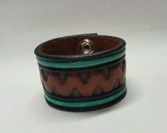 Stamped Leather Cuff, Leather Bracelet