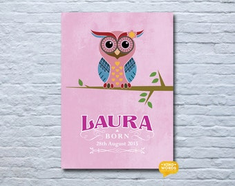 Personalised, baby girl, A4(unframed), welcome gift, owl print.  perfect gift for a new baby.  Celebrate her birth.