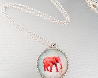 Cabochon silver elephant red and white necklace