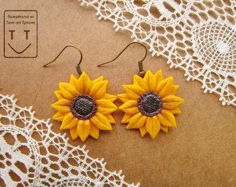 Earrings sunflower. Handmade jewelry from polymer clay.