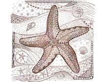 "Starfish - Art Print - Zentangle - Giclee - ""Starfish Tangle"" - 5x5 print"