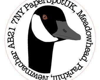 Customized round address sticker Canada Goose head