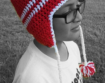 Crochet winter beanie with earflaps