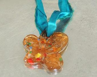 sari silk lampwork glass pendant