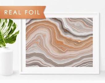 Earthy Agate Waves Real Foil Art Print 11x14, 8x10, 5x7