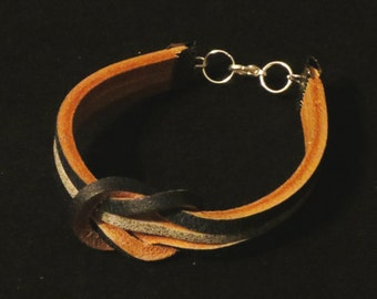 Black and Grey Leather Bracelet Cuff Wristband Bracelet with Square Knot Gift For Her Gift for Him