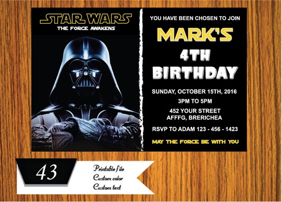Star Wars Birthday Greeting Free ~ Star wars invitation star wars invite galaxy wars birthday