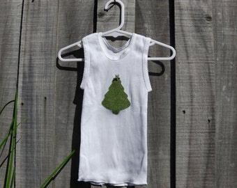 Hand appliqued baby Christmas tree singlet