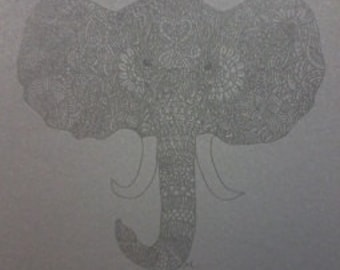Black on Black Barely There Zentangle Elephant A4 Art Print