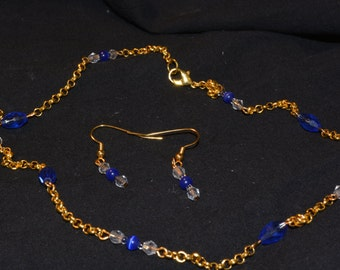 Blue crystal in gold