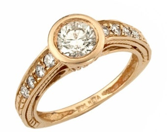 Rose Gold Engagement Ring, Antique Style 18K Gold Diamond Engagement Ring, Rose Gold Ring, Rose Gold Jewelry