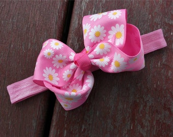 Baby Girl Headband, Flower bow headband, Pink Headband for Baby Hair Accessory, Newborn headband, Baby hair flower, baby shower Gift