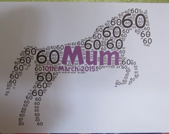 Personalised Word Art Greetings Card - Horse - Birthday - Anniversary - Special Occasion - Thank You - Wedding