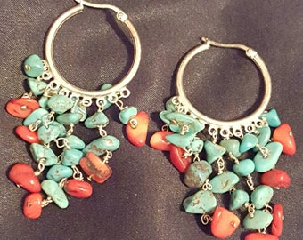 Sterling silver turquoise and Coral earrings