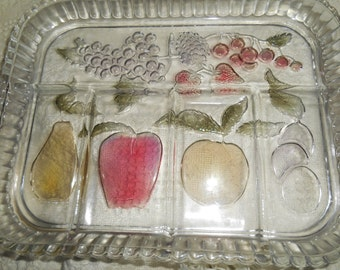Rainbow Mist Indiana Glass Divided FRUIT Relish Serving Tray / PLATE / DISH