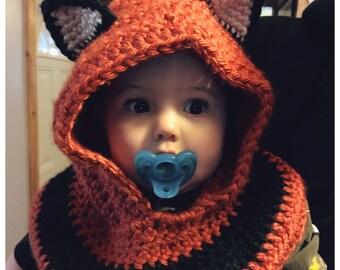 Crochet Fox Hooded Cowl: orange, black and white