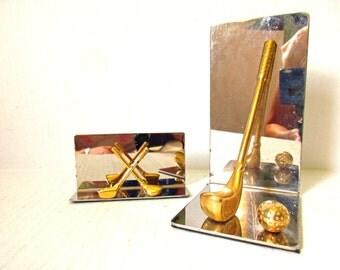 Golf Desk Accessories Golf Bookend Business Card Holder, Golfer Gift Idea Golf Lover, Golf Club and Ball Brass and Chrome