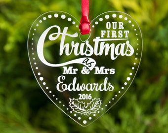 Our First Christmas as Mr and Mrs Personalised Baubles Xmas Tree Decorations Etched Clear Acrylic Engraved Wedding Keepsake Gift