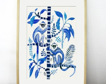 Indigo Monkeys on Frangipani, Large Fine Art Giclée Print. Hollywood Regency, Tropical, Palms, wall art, botanical, wallpaper, monkey print