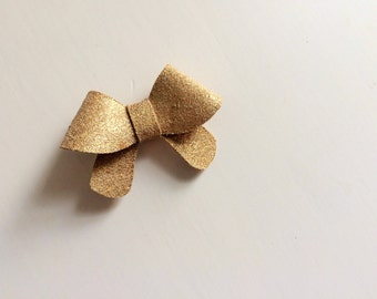 """Shimmer gold leather """"Helen"""" bow - small - headband - alligator clip"""