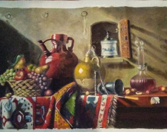 "Original Still Life Oil Painting on 39"" x 27.5 Unmounted Canvas"